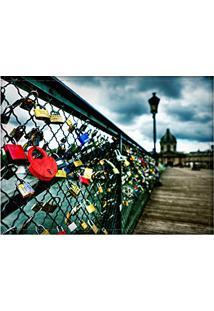 Jogo Americano Decorativo, Criativo E Descolado   Cadeados Na Ponte Do Rio Sena Em Paris Na França - Tamanho 30 X 40 Cm
