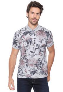 Camisa Polo Sergio K Reta Floral Cinza