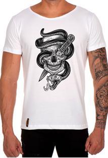 Camiseta Lucas Lunny T Shirt Gola Canoa Caveira Cobra Faca