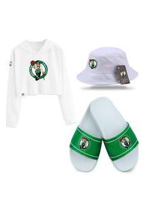 Chinelo Slide E Moletom Cropped Com Chapéu Bucket Branco Personalizados Boston Celtics.