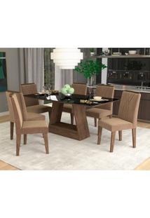 Conjunto De Mesa De Jantar Retangular Alana Com 6 Cadeiras Nicole Suede Pluma E Preto