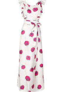 La Doublej Vestido Floral Midi Em Seda - Branco