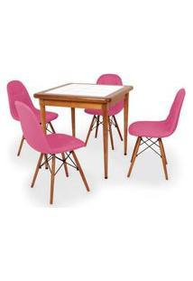 Conjunto Mesa De Jantar Em Madeira Imbuia Com Azulejo + 4 Cadeiras Botonê - Rosa