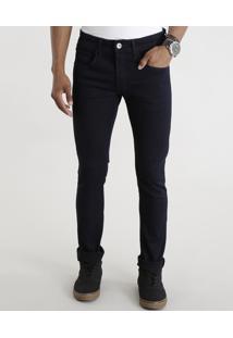 Calça Jeans Skinny Em Algodão + Sustentável Azul Escuro