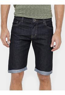 Bermuda Jeans Dardak Escura Barra Virada Masculina - Masculino-Jeans