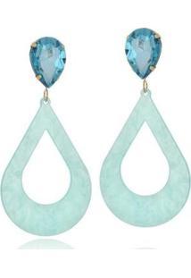 Brinco Le Diamond Acrílico Geométrico Base Cristal - Feminino-Azul Claro