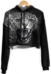 Blusa Cropped Moletom Feminina Over Fame Leopardo Md01