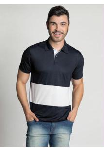 Camisa Polo Bicolor Preta
