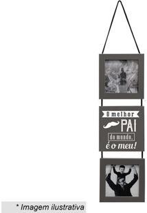 """Painel Com Placa """"Pai"""" Para 2 Fotos- Cinza & Branco-Kapos"""