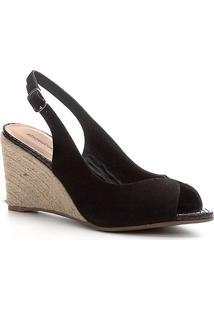 Peep Toe Shoestock Slingback Anabela Nobuck - Feminino-Preto