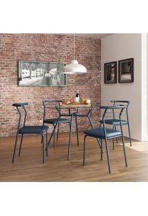 Mesa 1527 Vidro Incolor Com 4 Cadeiras Color 1708 Azul Noturno Carraro