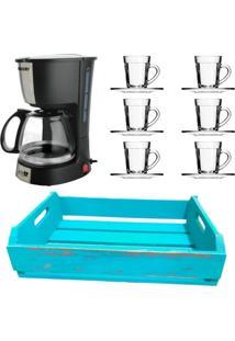 Kit 1 Cafeteira Mallory 220V,1 Jogo De 6 Xícaras Com Pires E 1 Bandeja Em Mdf Azul