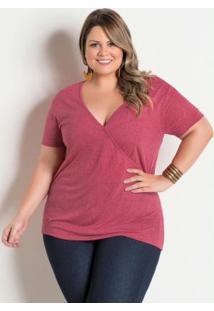Blusa Rosa Com Decote Transpassado Plus Size