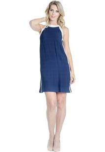 Vestido Reto Recortes Alphorria - Feminino-Azul Escuro