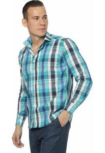 Camisa Slim Fit Em Viscose Xadrez