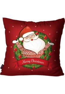 Capa De Almofada Pump Up Decorativa Avulsa Natalina Merry Christmas Papai Noel De Suã©Ter 45X45Cm - Vermelho - Dafiti