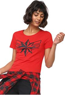 Blusa Cativa Marvel Capitain Marvel Vermelha