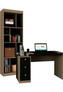 Escrivaninha Com Estante Home Office Iii Avelã E Ônix