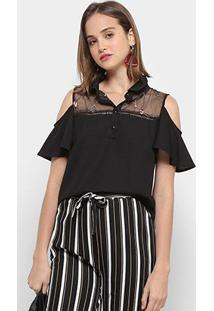 Blusa Chic Up Off Shouder Tule Bordado Feminina - Feminino-Preto
