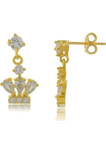 Brinco Com Pingente De Coroa Em Zircônias 3Rs Semijoias Dourado - Kanui