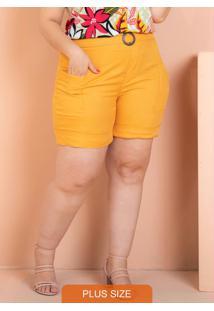 Bermuda Com Bolso Amarela Plus Size