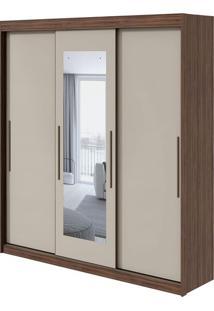 Guarda Roupa Aquarius 3 Portas Com Espelho Imbuia Naturale/Off White