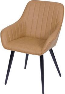 Cadeira Lounge Com Braco Courino Caramelo E Costura Vertical - 50017 Sun House