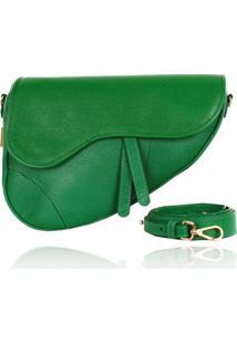 Sob Encomenda - Bolsa Couro Verde Bandeira Saddle Bag Parker - Kanui