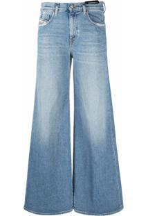 Diesel Calça Jeans Pantalona Cintura Alta - Azul