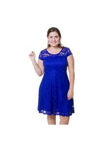 Vestido Estilo Fino Renda Azul Bic
