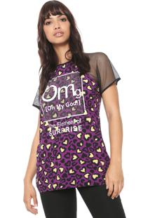 Camiseta My Favorite Thing(S) Tule Onça Roxa