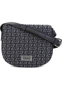 Bolsa Colcci Mini Bag Logo Transversal Feminina - Feminino-Preto+Caramelo