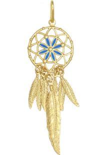 Pingente Prata Mil Apanhador De Sonhos Resina Azul Dourado