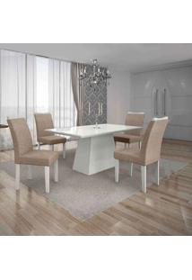 Conjunto De Mesa Com 4 Cadeiras Pampulha Ii Branco E Bege