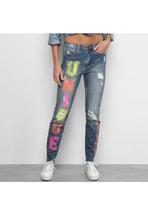 Calça Jeans Carmim Estampada Feminina - Feminino-Azul