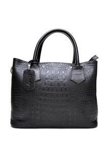 Bolsa Croco Estruturada Hendy Bag Com Repartição Preta