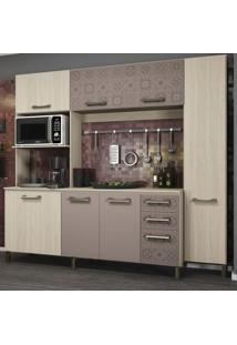 Cozinha Compacta E780 Sense Kappesberg Amêndoa/Moka/Azulejo