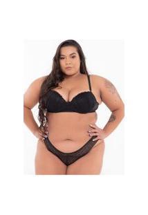Conjunto Click Chique Sexy Plus Size Renda Preto