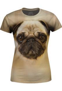 Camiseta Baby Look Pug Over Fame Bege