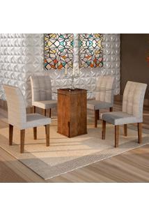 Conjunto De Mesa De Jantar Havana Com 4 Cadeiras Vitória Suede Chocolate E Cinza