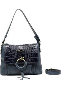 Bolsa De Couro Recuo Fashion Bag Baú Azul Marinho