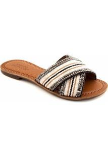 Rasteira Tiras Cruzadas Sapato Show 395 - Feminino-Bege