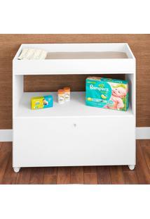Cômoda De Bebê C/ Trocador De Fralda 1 Porta Algodão Doce Branco - Art In Móveis