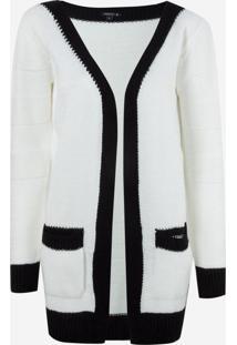 Cardigan Dudalina Médio Pb Gucci Tricot Feminino (Branco, Xgg)