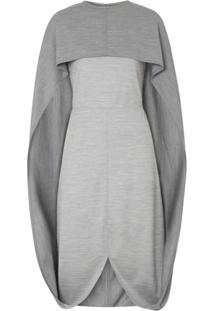 Burberry Vestido Com Detalhe De Pelerine - Cinza