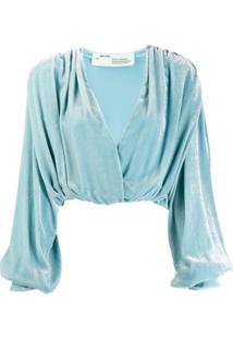 Off-White Blusa De Veludo Com Drapeado - Azul