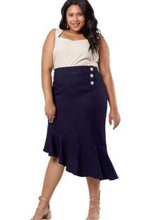 Saia Almaria Plus Size Pianeta Listrada Azul