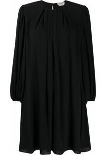 Alexander Mcqueen Vestido Reto Com Pregas - Preto