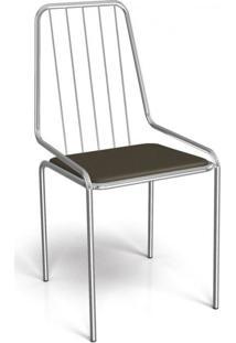 Cadeira De Ferro Benim Crome Kappesberg Cromado/Marrom