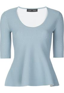 Proenza Schouler Blusa De Tricô Perfurada - Azul